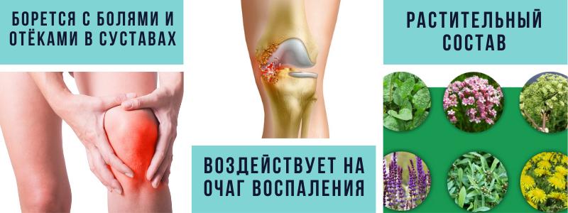 борется с болями и отёками в суставах, воздействует на очаг воспаления, растительный состав